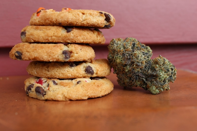 edible cannabis cookies with flower