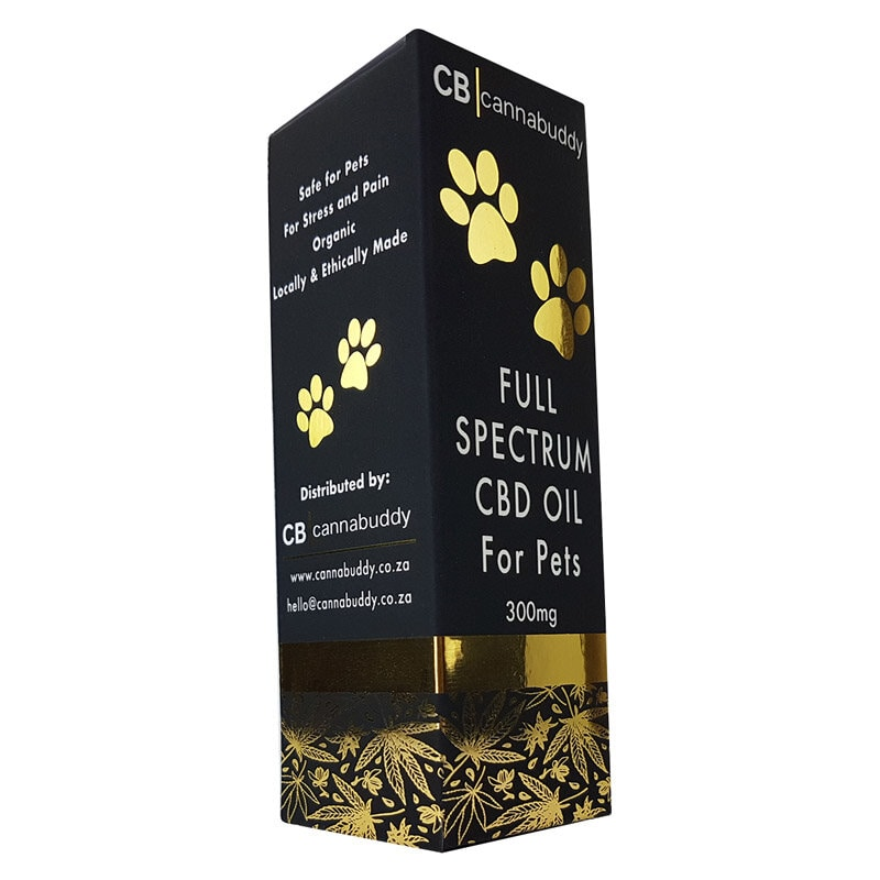 Cannabuddy Full-spectrum CBD Oil for Pets Gold and Black Box